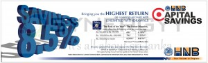 Highest interest rate from HNB Capital Saving