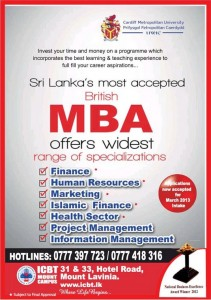 ICBT MBA Programme - March 2013 Intakes