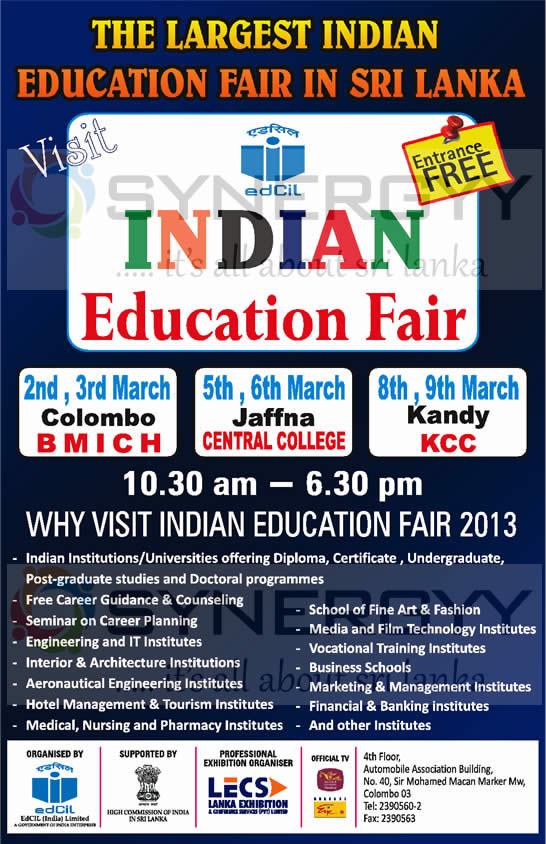 Indian Education Fair 2013 in Sri Lanka- from 2nd to 9th March 2013