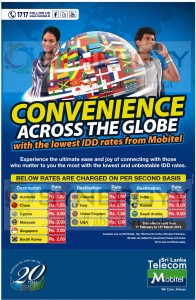 Lowest IDD rates from Mobitel – February 2013