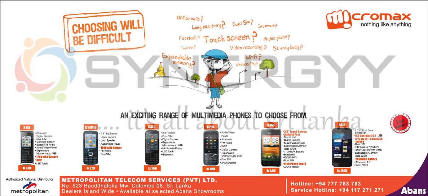 Micromax Mobile In Sri Lanka 171 Synergyy