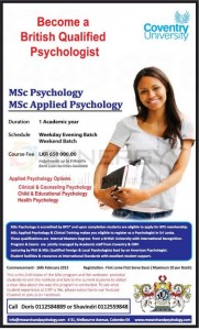 MSc Psychology and MSc Applied Psychology from Coventry University
