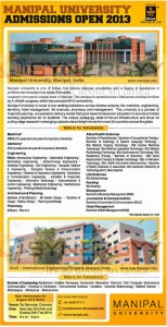 Manipal University Admission Open for 2013 Academic Year