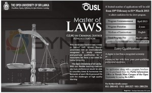 Master of Law from The Open University of Sri Lanka