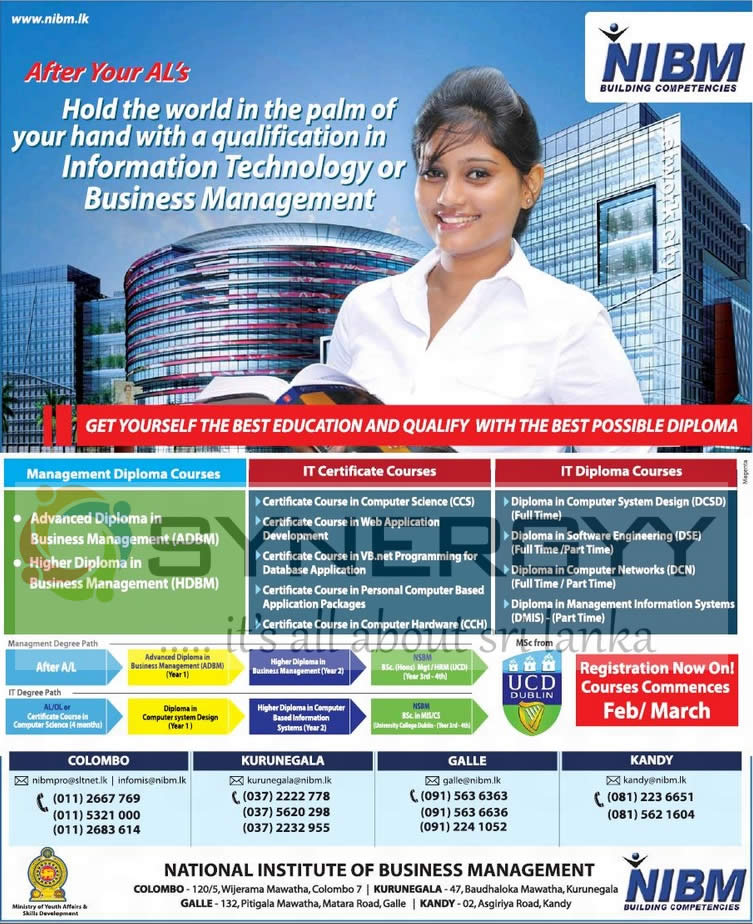 NIBM Certificate Diploma Programmes Of Management And IT Feb March 2013 Intakes