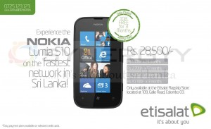 Nokia Lumia 510 Price is Rs. 28,500.00 and Easy payment scheme by Etisalat