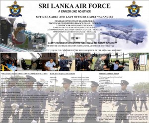 Opportunity to Join Sri Lanka Air Force and be Graduate in Aviation studies from Srilanka Air Force Academy (Accredited to the General Sir John Kotelawala Defence University)