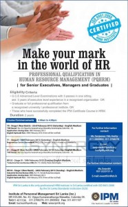 Professional Qualification in Human Resource Management (PQHRM) from IPM – February 2013 Intakes