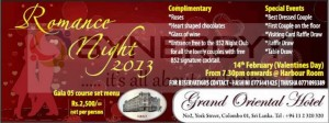 Romance Night 2013 – Valentine's Day Special at Grand Oriental Hotel