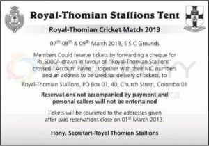 Royal –Thomian Cricket Match 2013 – 7th to 9th March 2013 at SSC Grounds