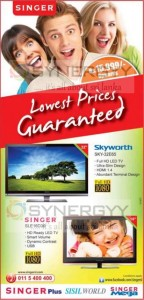 Singer Lowest Price TV for Rs. 15,999.00 onwards – February 2013