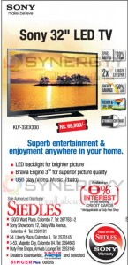 "Sony 32"" LED TV for Rs. 69,990.00 – February 2013"