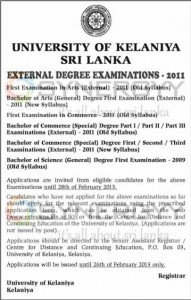 University of Kelaniya Srilanka – External Degree Examinations 2011 – 2013 Examinations