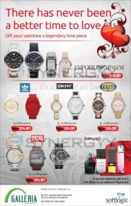 Valentine's Day Offer 15% to 25% discounts on Branded Wrist watches – valid till 14th February 2013