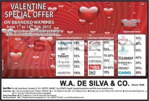 Valentine Day Special Offer for Branded Wrist Watches from W.A De Silva & Co – February 2013