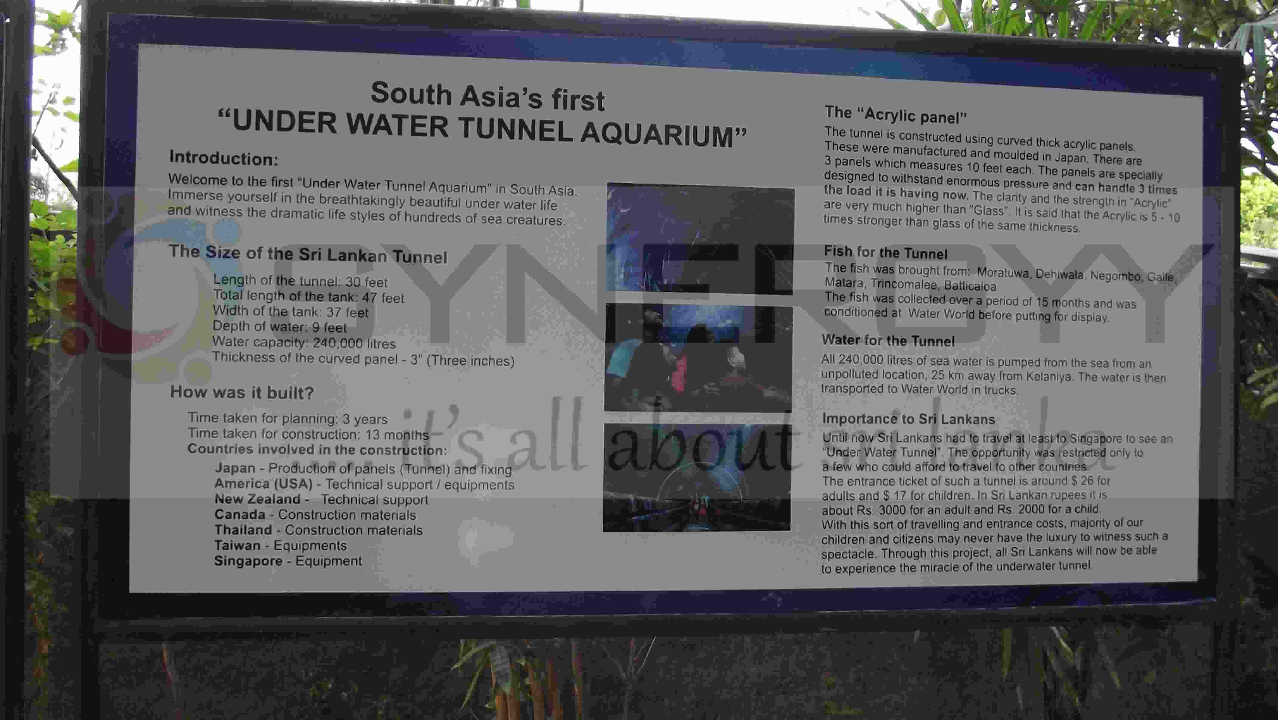 Aquarium fish tank sri lanka - Water World Under Water Tunnel Aquarium In Srilanka 1