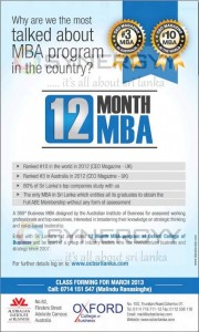 12 Month MBA Programme for Oxford College of Business – March 2013