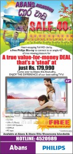 "Abans New Year sale Discount upto 40% for 42"" TV for Rs. 179,990.00 March 2013"