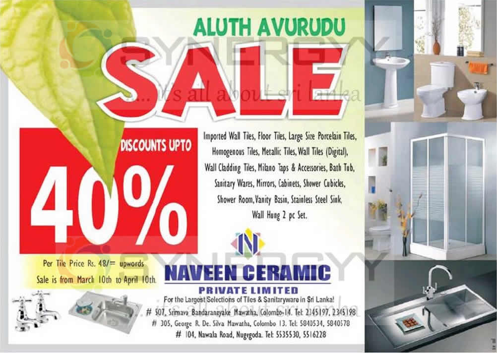 Aluth Avurudu Sale Discounts Upto 40 From Naveen Ceramic From 10th March To 10th April 2013