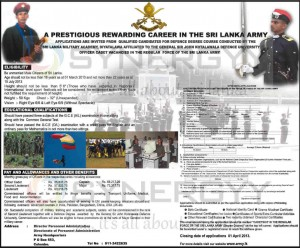 Applications call for Defence Degree Courses by Srilanka Military Academy