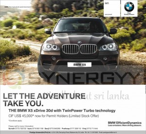 BMW X5 for USD 45,000 for Permit Holders in Srilanka – March 2013