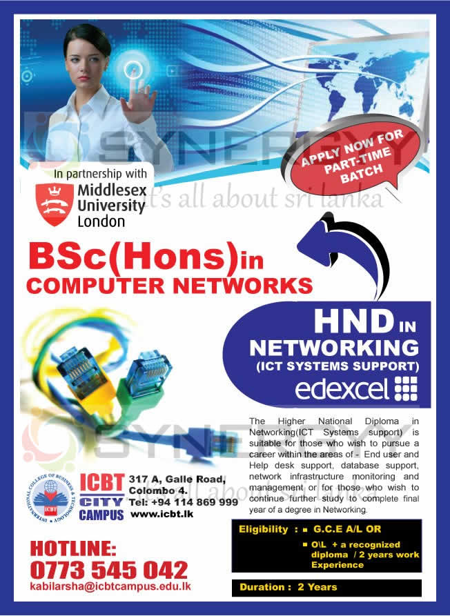 Bsc Hons In Computer Networks From Icbt City Campus