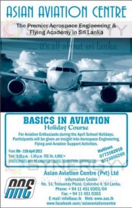 Basics in Aviation Holiday Course by Asian Aviation Centre in Sri Lanka