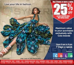 Buy 3 or more on Colo Brand and enjoy 25% Special discount till 15th March 2013