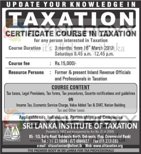 Certificate Courses in Taxation in Sri Lanka – Commencement on 16th Match 2013