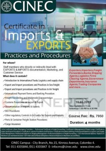 Certificate in Imports & Exports Practices and Procedures from CINEC