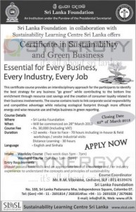 Certificate in Sustainability and Green Business by Sri Lanka Foundation