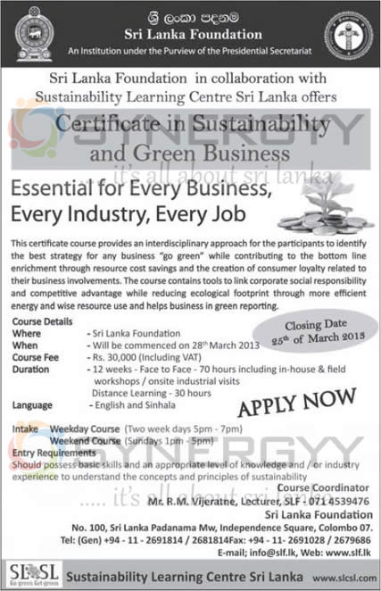 Certificate in Sustainability and Green Business by Sri Lanka