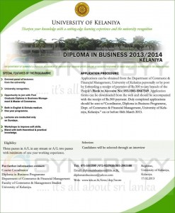 DIPLOMA IN BUSINESS 20132014 – University of Kelaniya