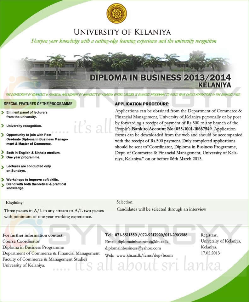 University of Kelaniya 2013 2014