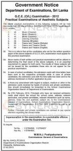 G.C.E. (OL) Examination - 2012 Practical Examinations of Aesthetic Subjects from 4th March 2013 to 14th March 2013