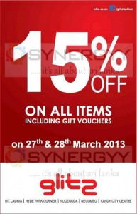 Glitz 15 % off on 27th and 28th March 2013