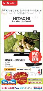 "Hitachi 29"" TV for Rs. 44,999.00 with Free gift of DVD Player"