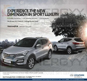 Hyundai All New 2013 Santafe for USD 22,000.00 for Permit Holders in Sri Lanka