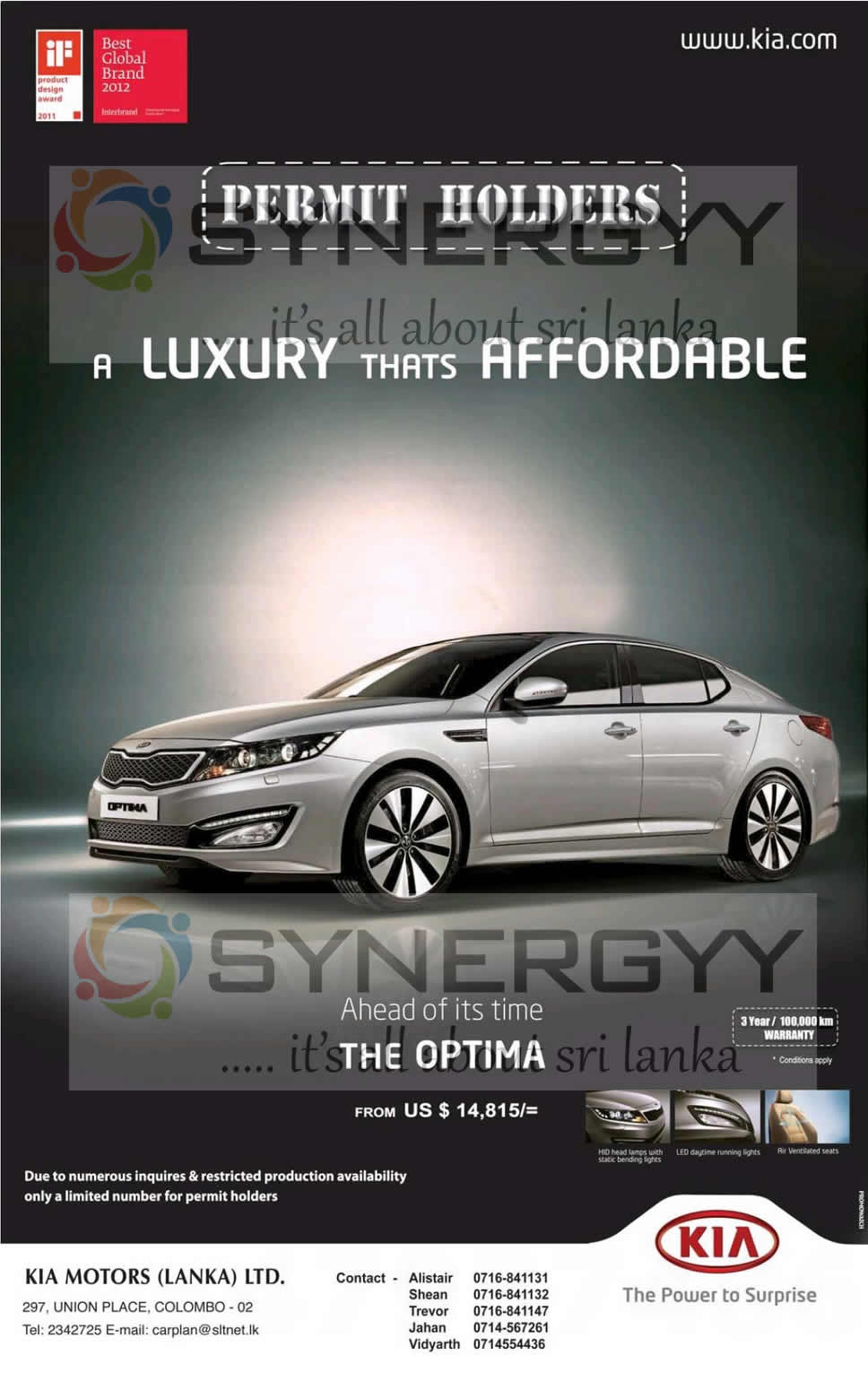 kia optima price in sri lanka usd 14 815 for permit holders march 2013 synergyy. Black Bedroom Furniture Sets. Home Design Ideas