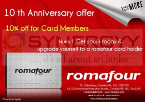Romafour 10th Anniversary offer – March 2013