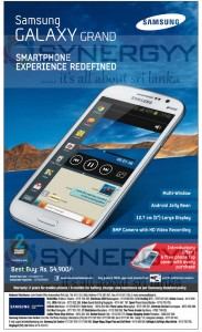 Samsung Galaxy Grand in Sri Lanka for Rs. 54,900.00