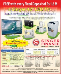 Singer Finance Fixed Deposits Interest Rates and Free Gifts till SinhalaTamil New Year