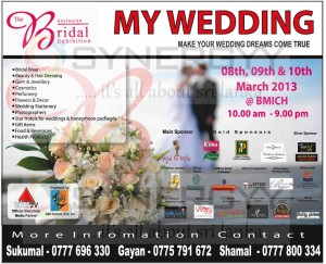 The Exclusive Bridal Exhibition My Wedding on 8th, 9th & 10th March 2013 at BMICH