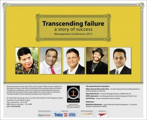 University of Colombo MBA Alumni event of Transcending Failure on 2nd April 2013