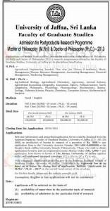 University of Jaffna, Sri Lanka Admission for Postgraduate Research Programme Master of Philosophy (M.Phil) & Doctor of Philosophy (Ph.D.) -2013