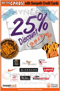 25% Discounts for Sampath Bank Credit Card 0 Valid till 7th April 2013