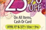 25% off at MONDY on all Items for Cash and Card from 9th to 10th April 2013
