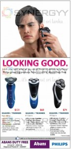 Abans Duty Free offer for Philips ShaverTrimmer from USD 60 Upwards – April 2013