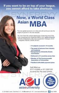 AeU MBA Degree Programme in Srilanka – April 2013