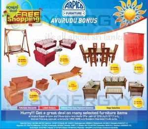 Arpico Furniture Sinhala &Tamil New Year (Avurudu) Sale – valid till 30th April 2013